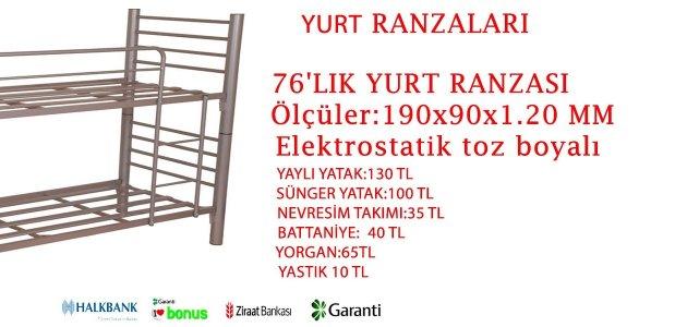 76'LIK YURT RANZASI YURTLARA ÇELİK RANZA